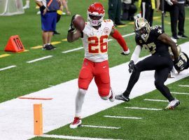 Running back Le'veon Bell scampers for a touchdown for the Kansas City Chiefs against the New Orleans Saints last season. (Image: Chris Graythen/Getty)
