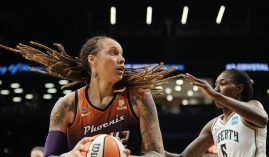 Brittney Griner and the Phoenix Mercury will host the New York Liberty on Thursday in a first-round WNBA Playoffs matchup. (Image: Sarah Stier/Getty)