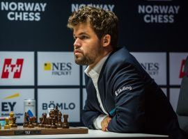 Magnus Carlsen (pictured) holds a slim lead over Richard Rapport heading into the final round of the 2021 Norway Chess tournament. (Image: Carina Johansen/NTB)