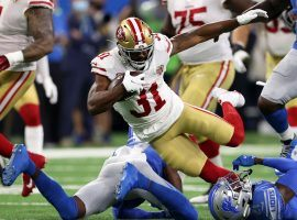 San Francisco 49ers running back Raheem Mostert incurred a knee injury in Week 1 action against the Detroit Lions. (Image: Gregory Shamus/Getty)