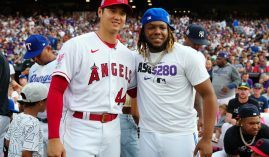 Shohei Ohtani (left) still leads the AL MVP odds, though Vladimir Guerrero (right) has made up ground in the final weeks of the season. (Image: Daniel Shirey/Getty)