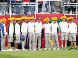 Team Europe has tried to win over the United States crowd ahead of the Ryder Cup by wearing cheeseheads in honor of the Green Bay Packers. (Image: Michael Madrid/USA Today Sports)