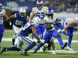 Los Angeles Rams backup running back Sony Michel played valuable minutes in the fourth quarter in a victory over the Indianapolis Colts. (Image: Nan C. Wang/Getty)