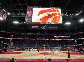 The Toronto Raptor relocated to Tampa Bay's Amalie Arena last season during the pandemic. (Image: Chris O'Meara/AP)