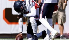 Houston Texans quarterback Tyrod Taylor grimaces in pain after his touchdown run against the Cleveland Browns. (Image: Greg Shamus/Getty)
