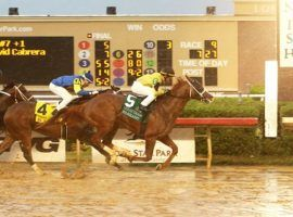 Warrant, seen here splashing home in May's Texas Derby. Sunday, he added the Oklahoma Derby to his resume, coming home by 1 1/4 lengths. (Image: Dustin Orono Photography)