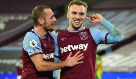 Soccer Football - Premier League - West Ham United FC is one of the Premiere league clubs Jarrod Bowen celebrates scoring their first goal with Vladimir Coufal.  (Image: Glyn Kirk/Reuters)