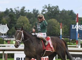 Jockey Irad Ortiz Jr. salutes Wit after piloting the 2-year-old to an eight-length Sanford Stakes victory in July. Wit is the 7/5 favorite to win the Grade 1 Hopeful Stakes on Saratoga's Monday closing card. (Image: Janet Garaguso/Coglianese Photos)