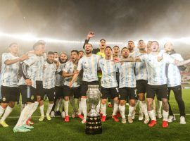 Because of Covid restrictions, Argentina's players could only celebrate in September their Copa America triumph in front of Brazil on 10 July. (Image: Twitter/Argentina)
