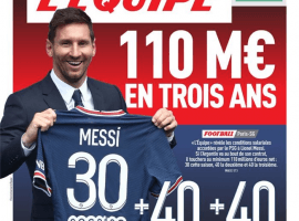 The Saturday front page of L'Equipe revealed how much Messi is making in Paris. (Image: lequipe.fr)