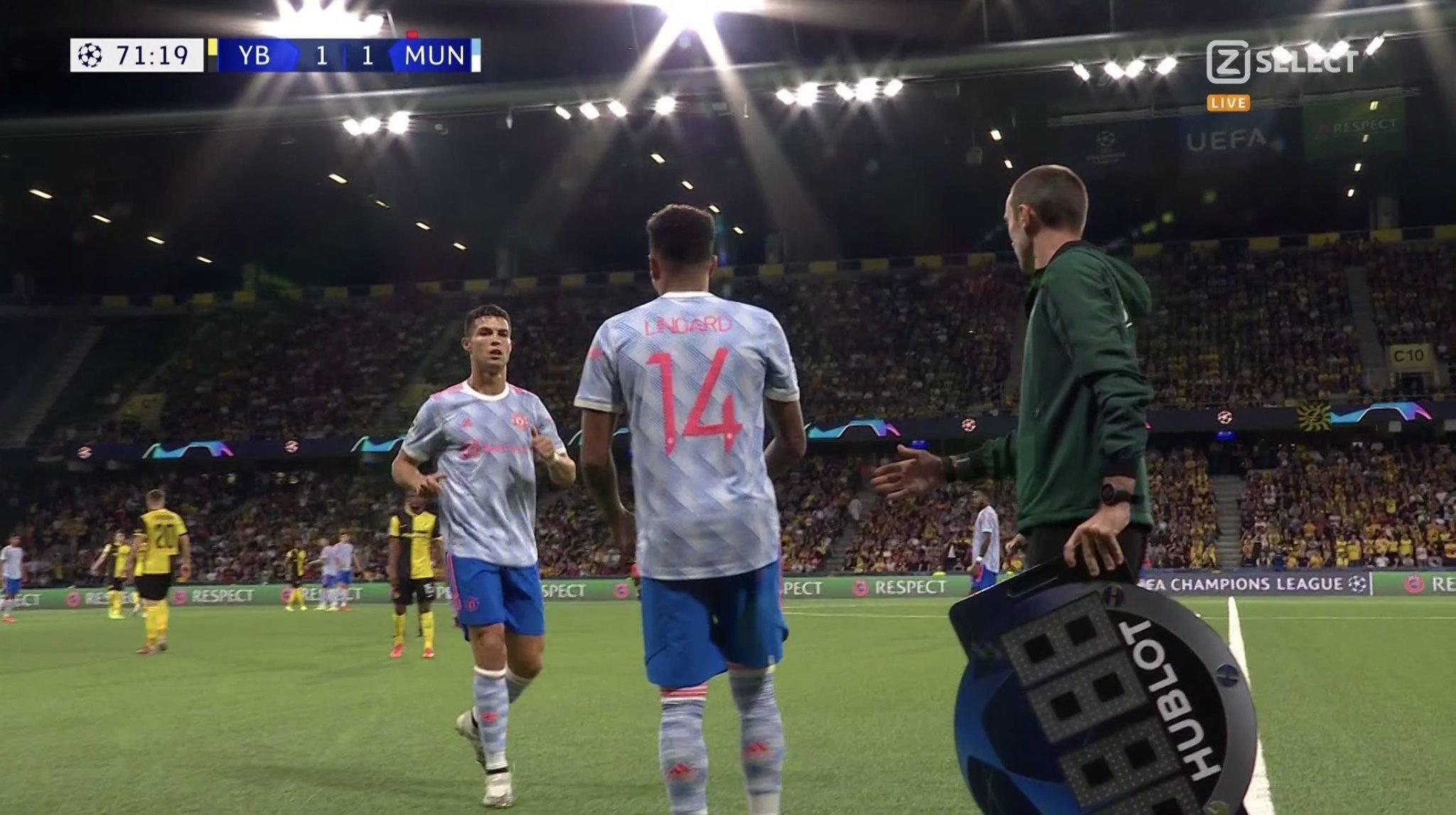 Lingard replaced Ronaldo
