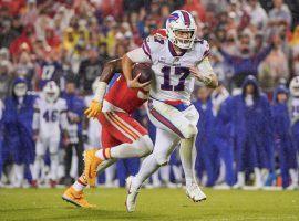 Buffalo Bills quarterback Josh Allen scrambles for a first down against the Kansas City Chiefs during a rain-slogged Sunday Night Football matchup. (Image: Peter Carini/Getty)