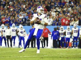 Josh Allen from the Buffalo Bills surveys the Tennessee Titans defense on Monday Night Football. (Image: Getty)
