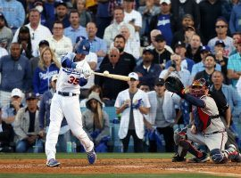 Cody Bellinger (35) homered in the eighth inning to lead a Dodgers rally in Game 3 of the NLCS. Game 4 of the series takes place on Wednesday night. (Image: Ronald Martinez/Getty)
