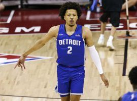 Cade Cunningham, shooting guard for the Detroit Pistons, in action during NBA's summer league in Las Vegas. (Image: Getty)