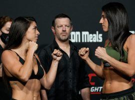 Mackenzie Dern (left) will take on Marina Rodriguez (right) on Saturday, in a battle of women with their eyes on the strawweight title. (Image: Getty)