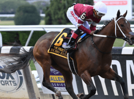 Echo Zulu and Ricardo Santana Jr. had no competition down the stretch of Sunday's Grade 1 Frizette at Belmont Park. The 7 1/4-length victory kept the daughter of Gun Runner unbeaten in three races -- two of those Grade 1s. (Image: NYRA Photo)