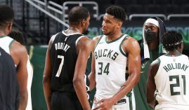 Kevin Durant from the Brooklyn Nets and Giannis 'Greek Freak' Antetokounmpo lead the two biggest and baddest dogs in the NBA Eastern Conference again this season. (Image: Gary Dineen/Getty)
