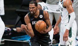 A fired-up Kevin Durant from the Brooklyn Nets during the 2021 Eastern Conference Finals against the Milwaukee Bucks. (Image: Getty)