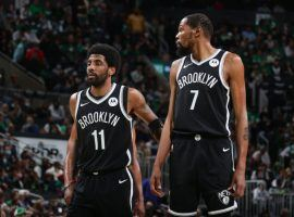 Kevin Durant and Kyrie Irving from the Brooklyn Nets during a postseason game in 2021. (Image: Nathaniel S. Butler/Getty)