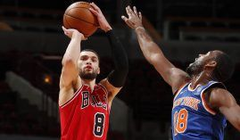 The New York Knicks will visit the Chicago Bulls in a matchup of old rivals that are once again relevant in the Eastern Conference. (Image: Jeff Haynes/NBAE/Getty)