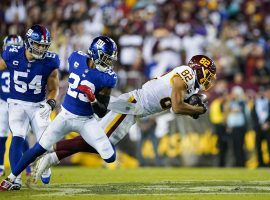 Logan Thomas, tight end from the Washington Football Team. dives for a first down against the New York Giants in September. (Image: AP)