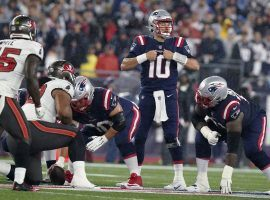 Mac Jones, rookie quarterback from the New England Patriots, in action against the Tampa Bay Bucs on Sunday Night Football at Foxboro. (Image: Getty)