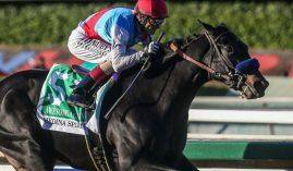 Trainer Bob Baffert's Medina Spirit wired the field in the Grade 1 Awesome Again earlier this month. The star Baffert colt -- as well as his other Breeders' Cup entries -- will be allowed to run in the championships at Del Mar next month. (Image: Ernie Belmonte)