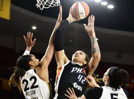Brittney Griner will try to lead a shorthanded Phoenix Mercury team against the Las Vegas Aces in Game 5 of their WNBA semifinal series on Friday. (Image: Barry Gossage/NBAE/Getty)