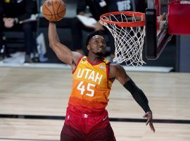 Donovan Mitchell from the Utah Jazz throws down a dunk. (Image: Getty)