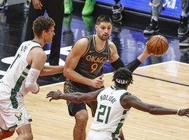 Chicago Bulls center Nikola Vucevic draws a double team from the Milwaukee Bucks last season. (Image: Kamil Krzaczynski/USA Today Sports)