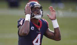 Houston Texans quarterback Deshaun Watson kvetches over a holding penalty called on a player from his offensive line during the 2020 season. (Image: Kamil Krzaczynski/AP)