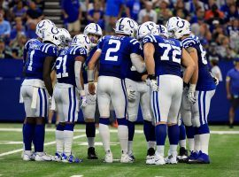 Quarterback Carson Wentz (2) commands the huddle for the Indianapolis Colts. (Image: Getty)