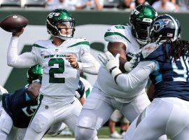 Rookie quarterback from Zach Wilson from the New York Jets holds his ground in the pocket against the Tennessee Titans. (Image: Getty)