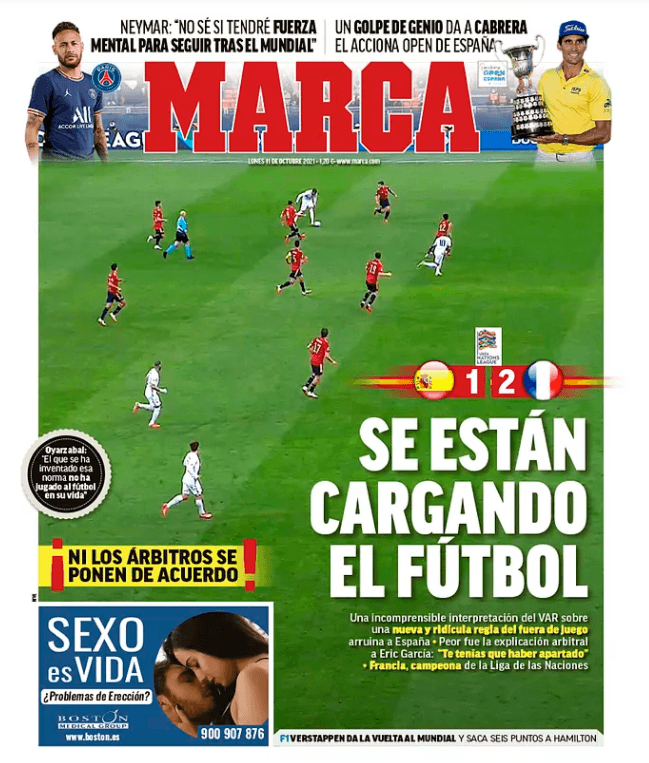 Marca's front page on Monday