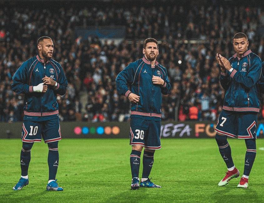 Neymar, Messi, and Mbappe