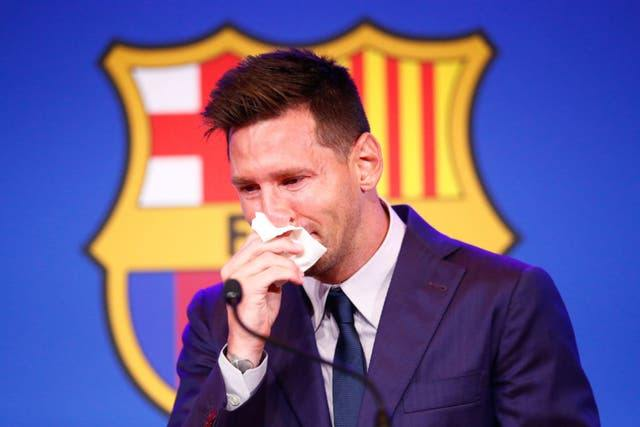 FC Barcelona - Leo Messi crying as he sais his goodbyes to the club