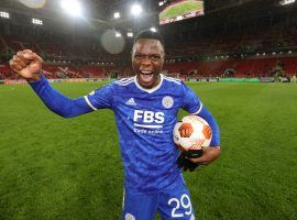 Patson Daka scored four goals as Leicester City came back from two goals down to beat Spartak Moscow in the Europa League. (Image: Twitter/lcfc)