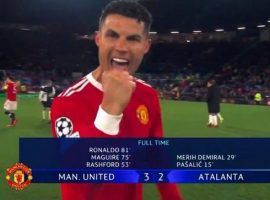Ronaldo scored the winning goal as Manchester United came from two goals down to beat Atalanta 3-2 at Old Trafford in the Champions League. (Image: Twitter/vmsportie)